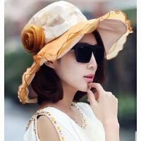 夏天遮阳帽沙滩帽 三层花朵太阳帽
