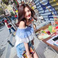 气质上衣2018夏装新款女装韩版一字肩小衫甜美超仙洋气雪纺衫衬衫