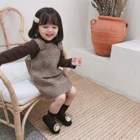 女童连衣裙2018新款秋冬装韩版洋气呢子格子儿童背带裙女宝宝裙子 深卡其布色