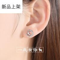 【刻字】2018新款纯银麋鹿耳钉女气质防韩国个性学生创意简约冷淡风耳环耳饰不易过敏 ED8013(驯鹿耳钉)