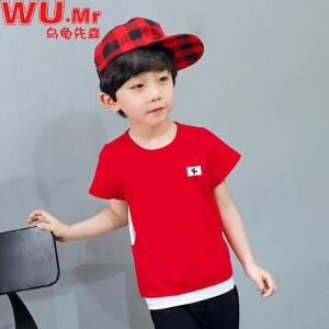 乌龟先森 儿童T恤 男童棉质半袖圆领字母夏季短袖韩版时尚休闲可爱不连帽打底衫中小童款式