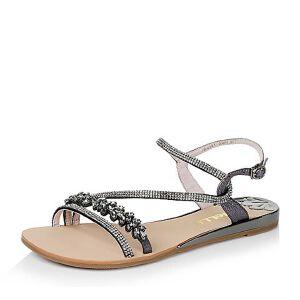 Belle/百丽夏季专柜同款/深灰牛皮革/绒布女凉鞋Q2K1DBL6