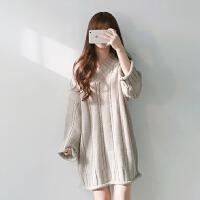 秋季新款韩版宽松套头v领长袖毛衣裙麻花加厚毛线针织连衣裙女潮 均码 (160/84A)