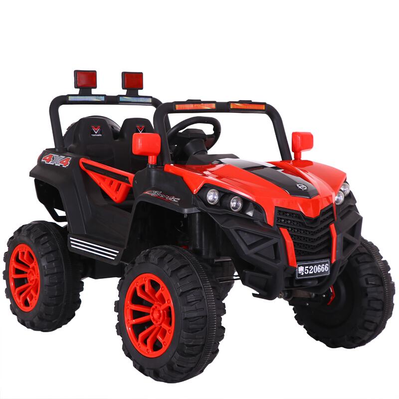 儿童电动车四轮越野汽车遥控可坐人宝宝车子1-3岁4-5小孩车玩具车 蜘蛛红+12V12A电瓶+四驱+防爆轮 皮座椅