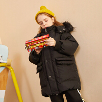 【双十二3件2折:305】巴拉巴拉旗下巴帝巴帝19年冬时尚休闲男童女童羽绒服儿童加厚保暖中长