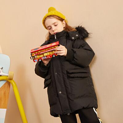 【限时3件2折:305】巴拉巴拉旗下巴帝巴帝19年冬时尚休闲男童女童羽绒服儿童加厚保暖中长