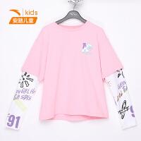 【到手价92】安踏儿童装女童2021春装新款卫衣中大童上衣长袖T恤假两件打底衫362118432