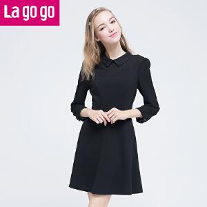 Lagogo/拉谷谷2016年秋季新款翻领花苞袖收腰显瘦纯色连衣裙女