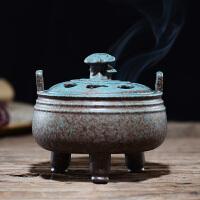 仿古香�`炉盘香炉熏香炉檀香线香居室茶道摆件双耳三足檀香炉香插