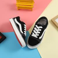 儿童帆布鞋男童板鞋春季韩版百搭黑色女童鞋小学生平底休闲鞋球鞋