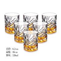 [六只装]无铅水晶高档威士忌酒杯套装烈酒啤酒杯家用玻璃水杯子 威士忌酒杯(6只) 如图