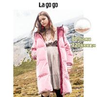 【开学季单件五折叠300-30优惠券】Lagogo2019冬季新款连帽丝绒面羽绒服女中长款外套HCYY358G05
