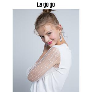 【开学季单件五折叠300-30优惠券】Lagogo/拉谷谷2018年秋季新款时尚圆领网纱袖子针织衫HCMM357A31