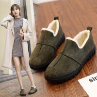 毛毛豆豆鞋女冬季女鞋平底百搭韩版加绒保暖学生二棉鞋冬