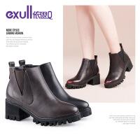 依思q冬季新款裸靴粗跟高跟短靴时尚拼接女靴子
