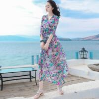 夏季新品女装修身系带中袖雪纺连衣裙波西米亚长裙海边度假沙滩裙 图片色 X257