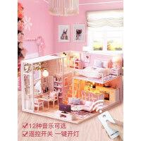 房子模型diy小屋手工创意阁楼制作玩具屋别墅中国风生日礼物女生