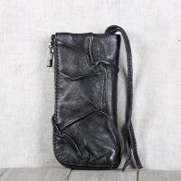 kuansen直营精选2019新款纯牛皮原创设计手工真皮皮包钱包卡包零 黑色