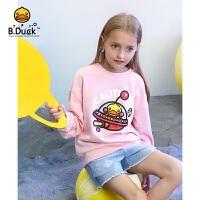 【4折价:119.6】B.duck小黄鸭童装女童卫衣 中大童上衣宽松印花长袖潮BF3008903