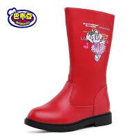 17cm~23cm巴布豆童鞋 女童靴子2016冬季新款公主靴女童马丁靴真皮女童短靴