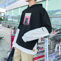 卫衣男秋季长袖连帽外套日系宽松男装学生套头衫潮流假两件上衣服