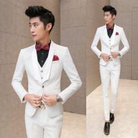 春装新款男士潮流白色提花西服套装韩版修身青年结婚免烫三件套