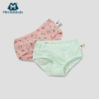 【99选3】迷你巴拉巴拉女童内裤棉质三角裤两件装2019春季新款宝宝透气短裤