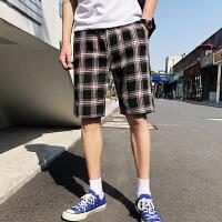 @文艺2018夏季新款港风韩版潮流男士休闲裤短裤五分裤格子