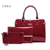 女包新款大包包大容量方包中年妈妈包漆皮亮皮单肩手提斜跨包