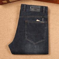 B系男士牛仔裤秋冬厚款 秋季弹力黑蓝色直筒磨白宽松商务长裤子 黑蓝色