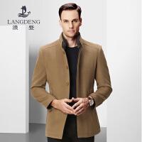 浪登2017冬季新款可脱卸真毛领纯羊毛男士呢子大衣中长时尚修身版K0021