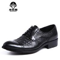 米乐猴 英伦鳄鱼纹男士正装皮鞋 低帮商务休闲鞋潮男鞋尖头