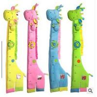 可移除墙贴纸儿童房卡通身高贴宝宝量身高尺子房间装饰贴画长颈鹿
