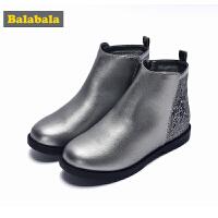 巴拉巴拉儿童靴子女2017秋冬新款女童短靴冬季鞋中童甜美鞋子女孩