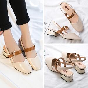ZHR2018夏季新款韩版方头奶奶鞋粗跟凉鞋中跟鞋子包头一字带女鞋Y61