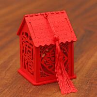 抖音同款喜糖盒中国风木质镂空结婚糖果礼盒中式婚礼创意喜糖盒 【纯色流苏】 小号