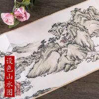 历代名家绘画 清 萧云从设色山水图 中国画风景画长卷画集画册
