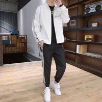 春秋搭配男装夹克一套装潮流韩版青少年学生帅气休闲运动卫衣两件