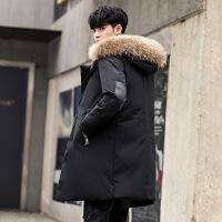 男士羽绒服冬季新款2018中长款外套青年韩版加厚毛领款潮流服