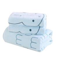 泰蜜熊柔软吸水不掉色不掉毛童巾毛巾浴巾三件套套装洗澡巾套装