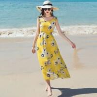 维绯2018新款 雪纺黄色吊带连衣裙 海边度假沙滩裙波西米亚长裙 黄色