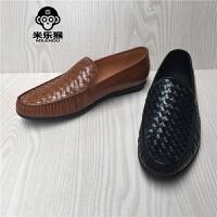 米乐猴 潮牌男鞋圆头英伦商务正装平底休闲男士皮鞋男鞋