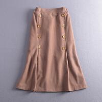 C1272018韩版新款高腰假纽扣显瘦保暖呢子包臀半身裙