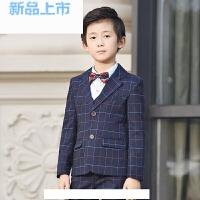男童西装套装儿童格子西服外套中大童韩版花童礼服男孩小西装春季