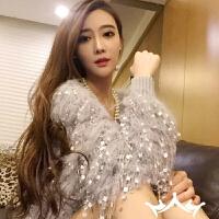 韩版春季蝙蝠袖毛衣针织开衫女名媛甜美宽松显瘦流苏毛毛短款外套 均码