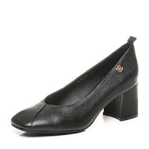 Belle/百丽2017秋季新款牛皮奶奶鞋复古方头粗高跟浅口女单鞋108-2CQ7