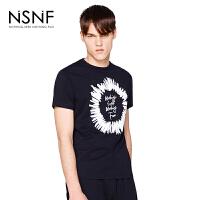 NSNF手绘字母印花黑色纯棉修身T恤 男装短袖t恤2017新款 修身圆领针织短袖