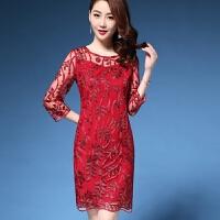 参加婚礼妈妈装春夏新款连衣裙刺绣时尚中年妇女结婚宴礼服裙 红色