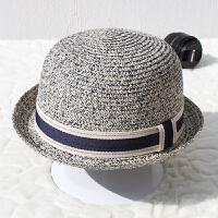 夏季草帽女英伦圆顶卷檐小礼帽沙滩遮阳帽防晒帽子户外可爱百搭潮 可调节