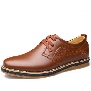 2017夏秋四季新品男士皮鞋圆头系带加棉鞋子时尚真皮男鞋加绒工装鞋1103BBS